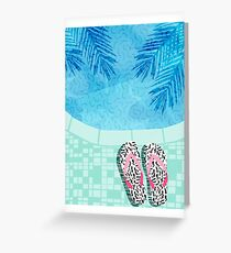 Go Time - swimming retro pool resort oasis palm springs throwback memphis neon trendy 80s art abstract swimmer athlete tropical vacation Greeting Card