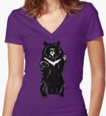 Black himalayan bear Women's Fitted V-Neck T-Shirt