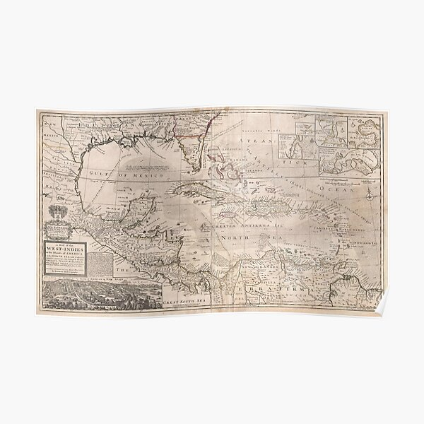 Vintage Map of The Caribbean (1732) 2 Poster