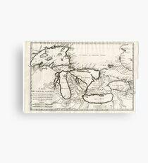 Vintage Map of The Great Lakes (1744) Metal Print