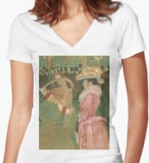 Henri de Toulouse-Lautrec  - At the Moulin Rouge The Dance (1890)Woman Portrait Fashion Women's Fitted V-Neck T-Shirt