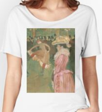 Henri de Toulouse-Lautrec  - At the Moulin Rouge The Dance (1890)Woman Portrait Fashion Women's Relaxed Fit T-Shirt