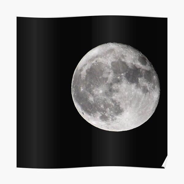 October Full Moon - Asymmetric Moon Photo on Black Background  Poster