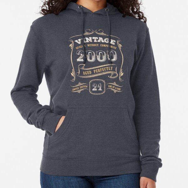 21st Birthday Gift Gold Vintage 2000 Aged Perfectly Lightweight Hoodie