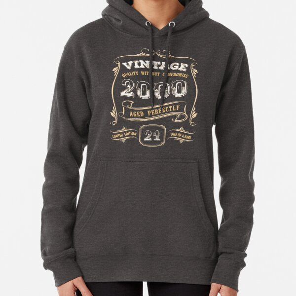 21st Birthday Gift Gold Vintage 2000 Aged Perfectly Pullover Hoodie