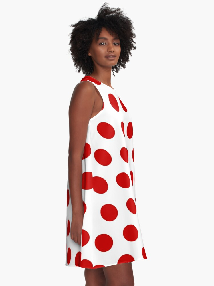 Alternate view of Red Polka Dot Pattern A-Line Dress