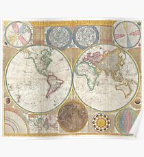 Vintage Map of The World (1794) Poster