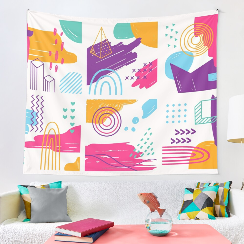 Funky Memphis Style Abstract Doodle Artwork Tapestry by Pamela Arsena