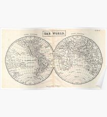 Vintage Map of The World (1860) 2 Poster