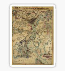 Vintage Savannah Georgia Bürgerkrieg Karte (1864) Sticker