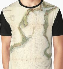 Vintage Map of New Haven Harbor (1872) Graphic T-Shirt