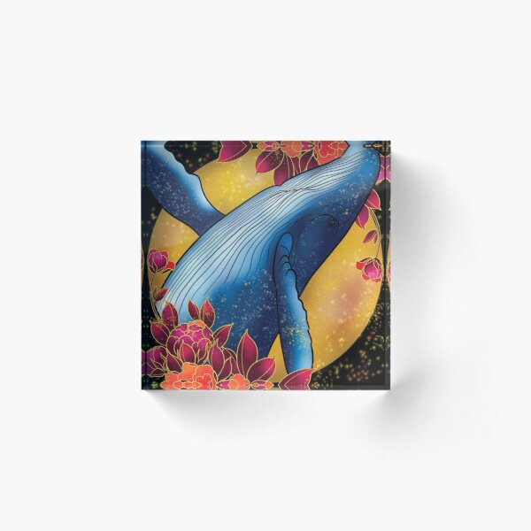 Magic Whale and peonies Acrylic Block