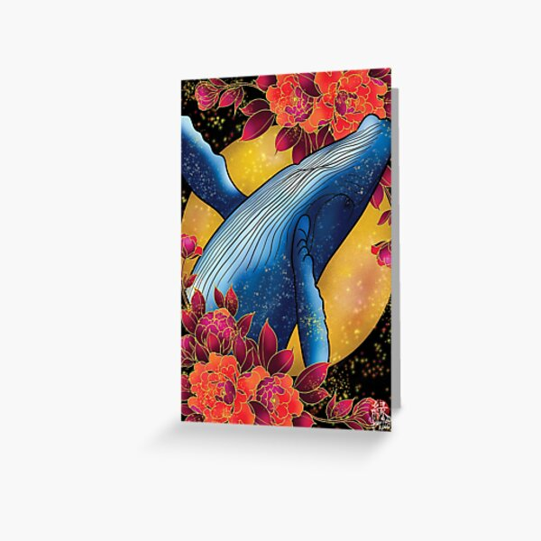Magic Whale and peonies Greeting Card