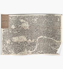Vintage Map of London England (1899) 2 Poster
