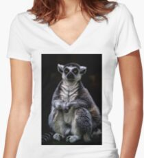 Portrait Of A Ring Tailed Lemur Women's Fitted V-Neck T-Shirt