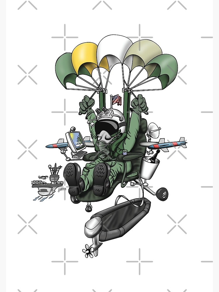 Naval Aviation Life Support Systems (ALSS) Parachute Rigger Cartoon by hobrath