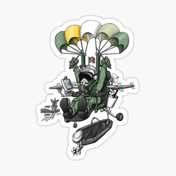 Naval Aviation Life Support Systems (ALSS) Parachute Rigger Cartoon Sticker