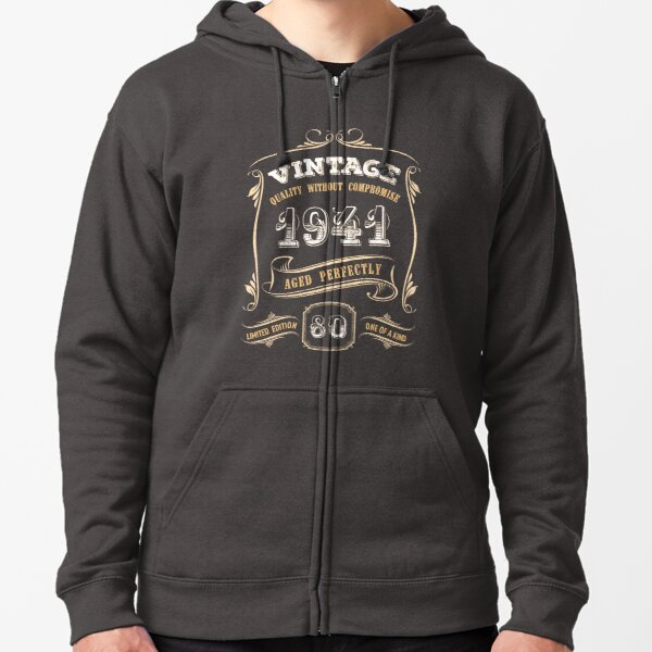80th Birthday Gift Gold Vintage 1941 Aged Perfectly Zipped Hoodie