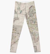 Vintage Map of The World (1719) Leggings