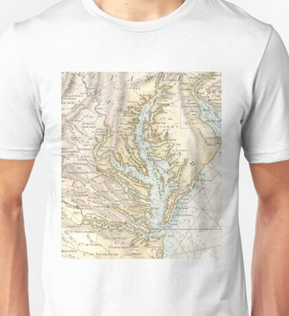 Vintage Map of The Chesapeake Bay (1778) 2 Unisex T-Shirt