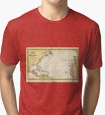 Vintage Christopher Columbus Voyage Map (1828) Tri-blend T-Shirt