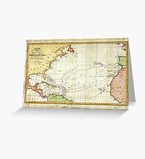 Vintage Christopher Columbus Voyage Map (1828) Greeting Card