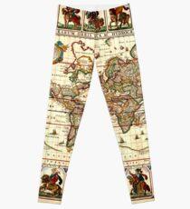 Vintage Map of The World (1652) Leggings
