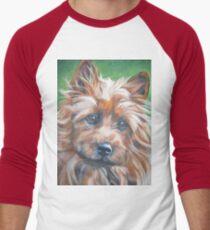 australian Terrier Fine Art Painting Men's Baseball ¾ T-Shirt