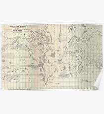 Vintage Map of The World Whaling Grounds (1880) Poster