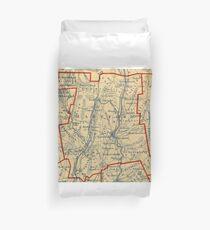Vintage Map of Hartford County CT (1846) Duvet Cover