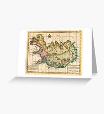 Vintage Map of Iceland (1756) Greeting Card