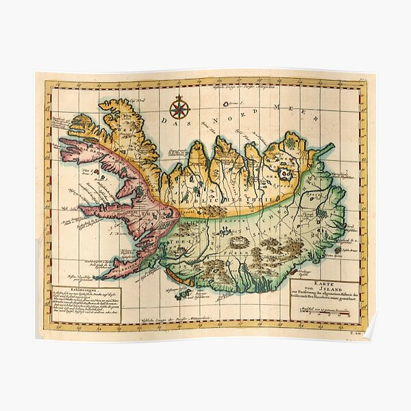 Vintage Map of Iceland (1756) Poster