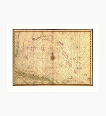 Vintage Map of The Bahamas (1650) Art Print