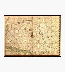 Vintage Map of The Bahamas (1650) Photographic Print