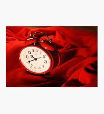Red Alarm Clock 4 - Warm, Love, Valentine, Charming, White, Time Photographic Print