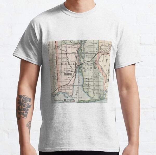Vintage Map of Mobile Alabama (1891) Classic T-Shirt