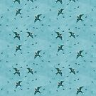 Love and Swooping Swallows in the Air, Teal by ThistleandFox