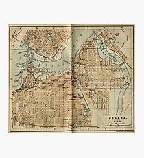 Vintage Map of Ottawa Canada (1894) Photographic Print