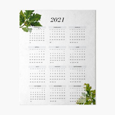 Yearly 2021 Calendar Simple Modern Classic with Botanical Art Art Board Print