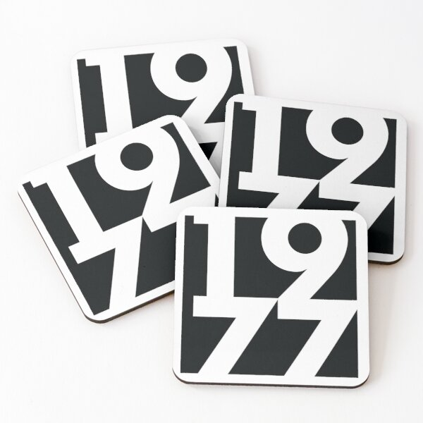 1977 Fun Designs on Clocks, Coasters, Pillows and Notebooks Coasters (Set of 4)