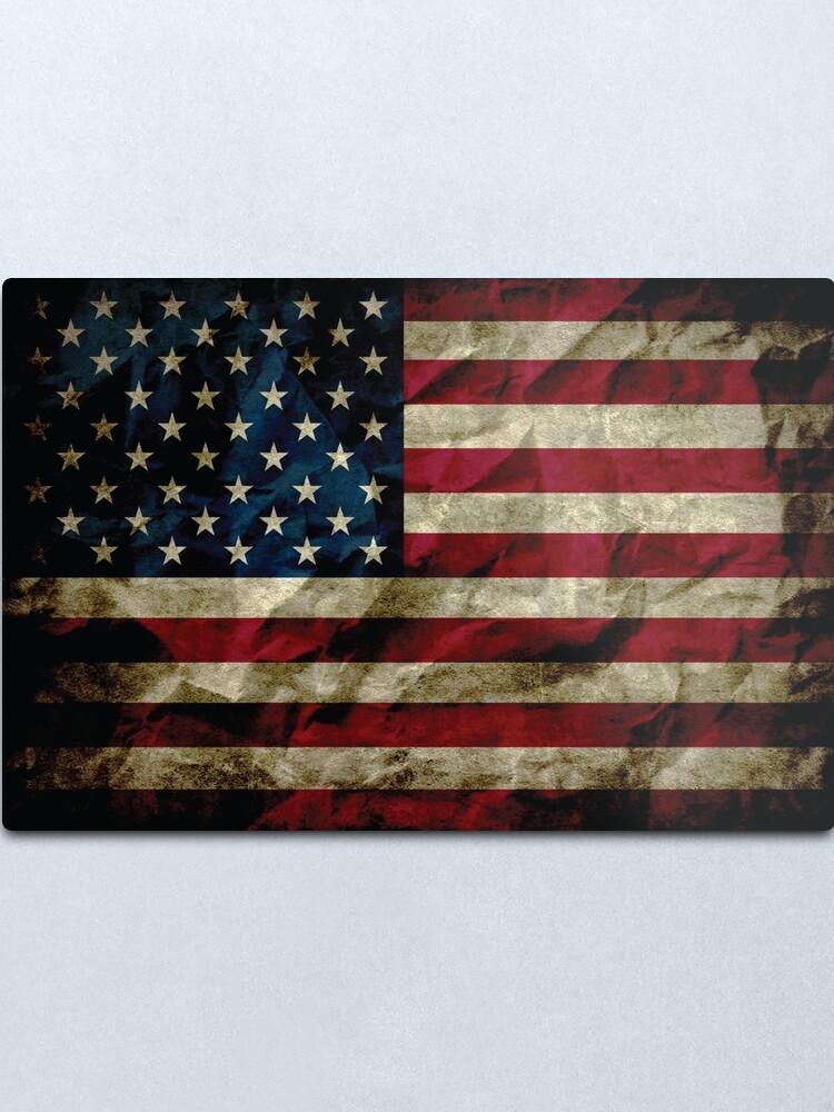 Alternate view of American Vintage Distressed Flag US Flag Metal Print