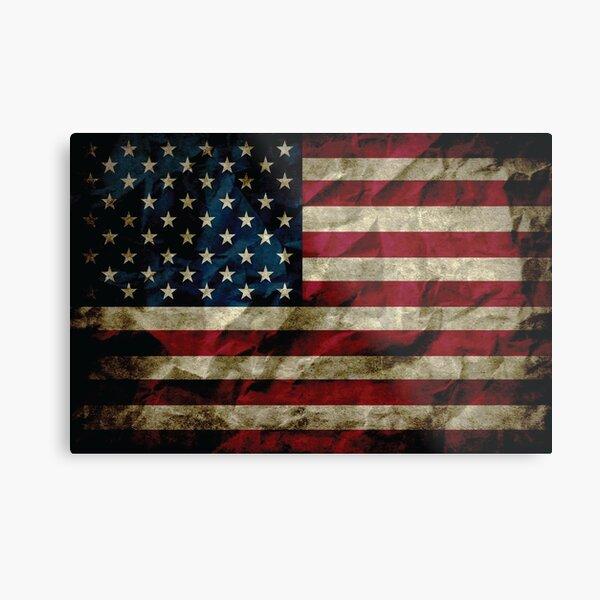 American Vintage Distressed Flag US Flag Metal Print