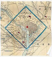 Vintage Map of Washington D.C. Battlefields (1862) Poster