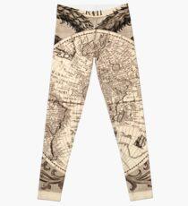 Vintage Map of The World (1630) Leggings