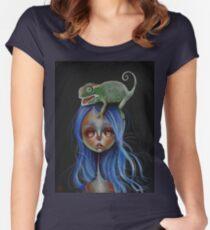 Little Chameleon Head Women's Fitted Scoop T-Shirt