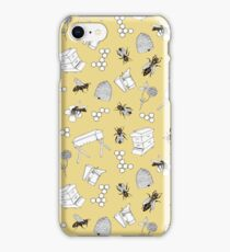 Beekeeper Print in Buttercup Yellow iPhone Case/Skin