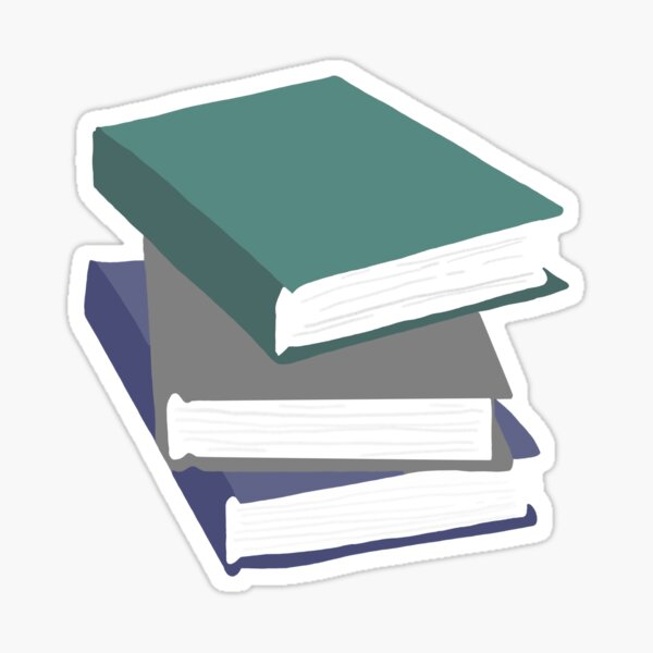 Stack of books with green Sticker