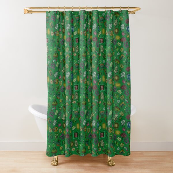 Green objects of life Shower Curtain