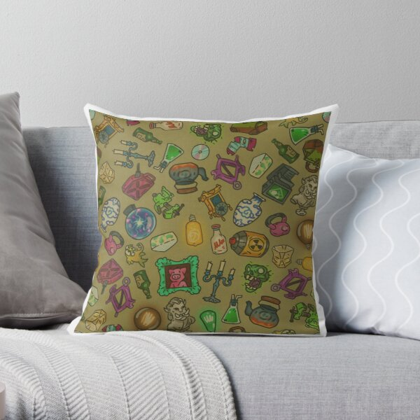 Beige objects of life Throw Pillow