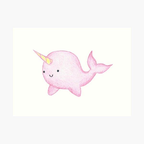 Cute Pink Narwhal  Art Print